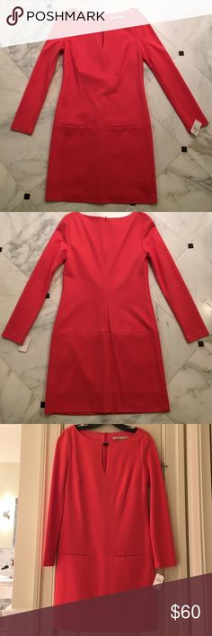 NWT Trina Turk dress size 2 Never worn. In perfect condition. NWT size 2 Trina Turk dress in ponte fabric, fully lined. Small gold detail at collar, slash pockets at mid-seam on front. Gorgeous deep coral colored. No trades. Trina Turk Dresses