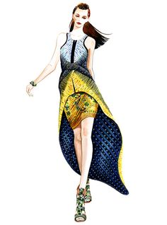 Alana Zimmer for Peter Pilotto -illustration by Sunny Gu #fashion #illustration #fashionillustration