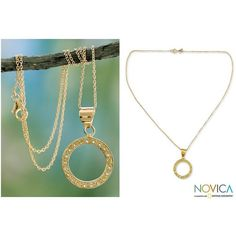 NOVICA Gold Vermeil with Peridot Studs in Indian Necklace ($39) ❤ liked on Polyvore featuring jewelry, necklaces, pendant, peridot, peridot pendant, peridot pendant necklace, stud necklace, golden necklace and circle pendant