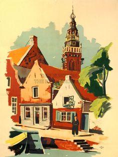 PAINTING HOLLAND NETHERLANDS DUTCH VILLAGE FINE ART PRINT POSTER CC655