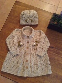 Crochet dress toddler free baby cardigan 42 ideas for 2019 Crochet Toddler Dress, Baby Girl Crochet, Crochet Baby Clothes, Diy Crochet Cardigan, Crochet Coat, Knitted Coat, Cotton Crochet, Baby Knitting Patterns, Baby Patterns