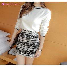 2017 Korean Knitted Women Skirt Sets Knitted O-Neck White Sweater Top Elastic Waist Skirt Winter Suits 2 Piece Female Sets #Affiliate