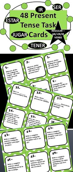 These task cards have a variety of tasks designed to give students a well-rounded review of the present tense and both regular verbs and five very common irregular verbs.