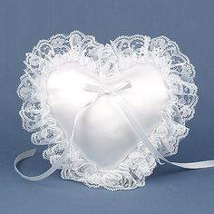 Wedding ring pillows, also referred to as a ring bearer pillow, are tradionally used during the wedding ceremony in many cultures to present the wedding rings to the bride and groom as they exchange their vows. Wedding Ring Cushion, Wedding Pillows, Ring Bearer Pillows, Ring Pillows, Lace Heart, Mini Heart, Diy Lace Trim, Heart Wedding Rings, Heart Shaped Rings