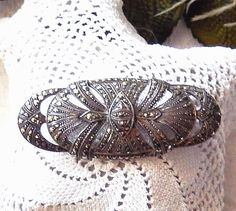 Vintage German Art Nouveau Sterling Silver Marcasite Oval Brooch Pin