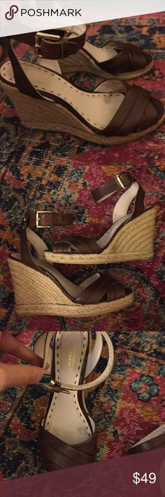 Coach wedges Beautiful Coach wedge sandals. These are also very comfortable and can be worn with almost anything! Coach Shoes Wedges