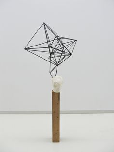 Wire, clay, wood geometric sculpture