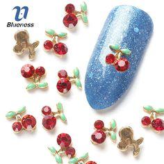 Nail Art Rhinestone For Nails Blueness 10 Pcs Cherry 3D Art Tools Stones Crystal Alloy Decorations Nail Art Glitters DIY TN061