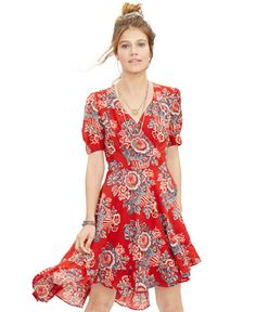 Denim & Supply Ralph Lauren Floral-Print Gauze Wrap Dress - Dresses - Women - Macy's