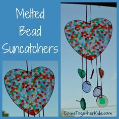 Come Together Kids: Melted Bead Suncatchers  ~ The kids had so much fun making these!  All you need are some translucent plastic beads (we used inexpensive pony beads) and some baking pans!