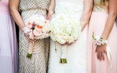 www.ostaraphotography.com, ©Ostara Photography, San Juan Capistrano, The Villa in San Juan Capistrano, Spanish Style Wedding, lace dress, mix and match bridesmaid dresses, bouquets, all white bouquet, rosary, soft pink bouquet