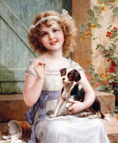 """""""Waiting for the vet"""" by Emile Vernon (french painter)"""
