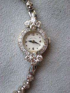 Gorgeous 14k White Gold and Diamond Ladies Hamilton Watch.
