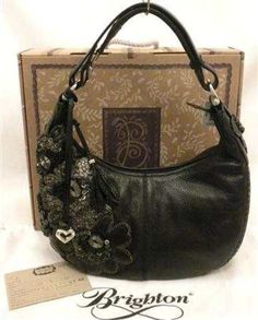 805cd36e0759 Brighton FABIOLA Masterpiece Hobo Floral Bag Black Leather 3D Flowers  H33043 NWT  Brighton  Hobo