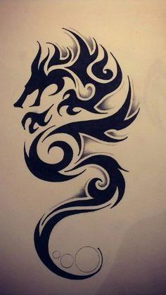 Wonderful Tribal Dragon Tattoo Design Tattoos And Body Art tribal dragon tattoo Neotraditional Tattoo, Tattoo Dotwork, Hawaiianisches Tattoo, Clown Tattoo, Irezumi Tattoos, Tattoo Drawings, Samoan Tattoo, Polynesian Tattoos, Tribal Drawings