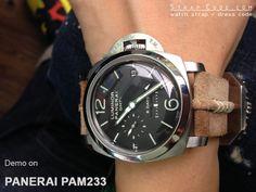 Panerai PAM233 on 24mm MiLTAT Sand + L Brown Ridge Design Suede watch strap, Beige Hand Stitch [24B24BPV10S6D02]