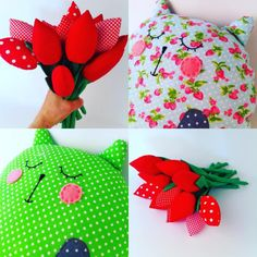Flowers for cats? Or cats for flowers 😊 Teddybear, Sewing For Kids, Cat Toys, Handmade Toys, Plushies, Tulips, Gifts For Kids, Birthday Gifts, Etsy Seller