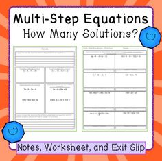 Interactive notes, worksheet and exit slip for solving equations, with variables on both sides, that have no solutions or an infinite number of solutions.