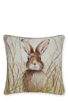 Buy Hare Print Cushion from the Next UK online shop Large Cushions, Printed Cushions, Large Sofa, Scatter Cushions, Woodland Bedroom, Woodland Theme, Woodland Animals, Animal Cushions, Textiles