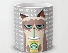 Personalized mug cup designed PinkMugNY - I love Starbucks - Grumpy Cat