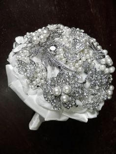 Everlasting wedding brooch bouquet  Pearls by OneTimeWedding, $220.00