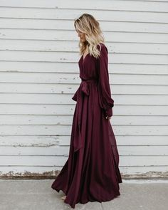 Long Sleeve Diana Maxi Dress - Wine Source by savcatherine Dresses Short Beach Dresses, Trendy Dresses, Sexy Dresses, Nice Dresses, Dress Outfits, Summer Dresses, Formal Maxi Dresses, Woman Dresses, Long Fall Dresses