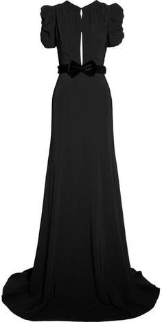 Burberry Prorsum Belted Crepe Gown