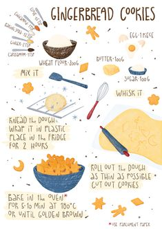 Baking Recipes, Cookie Recipes, Dessert Recipes, Desserts, Cute Food, Yummy Food, Recipe Drawing, Website Illustration, Food Journal