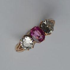 LOT 175: A good ruby and diamond three stone ring in Antique 18 carat gold claw mount. Est. £2000 - £2500. Coming up in our #Silver #Jewellery #Toys and #Railwayana #Auction on Thursday 25th May. To include #Watches #Collectables #Pictures #China & #Antique #Furniture #May25 #whittonsauctions #Honiton #pin