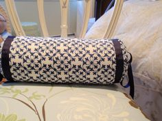 MUSH easier drawstring bolster/neckroll pillow (gathered with grosgrain ribbon - or skinny tie, decorative rope, whatever) NO ROUND SEAMS TO SEW!!!!! DIY by Design: Neck Roll Pillow Tutorial