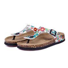 e8c8edabf9f Cork Flip Flops Casual Beach Mixed Color Sandals Flat