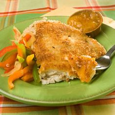 Coconut Tilapia with Apricot Dipping Sauce Allrecipes.com. Made this for dinner with orange marmalade dipping sauce.  Yummy!