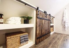 WEBSTA @ beginninginthemiddle - Custom built-ins and mini barn doors were the perfect solution to the wasted knee wall space at ☺️ Attic Bedroom Storage, House, Interior Barn Doors, Built Ins, Bath Renovation, Bathroom Makeover, Knee Wall, Bedroom With Bath, Bathrooms Remodel
