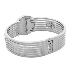 EDFORCE Stainless Steel Silver-Tone Simulated Mother-of-Pearl Floating CZ Bangle Bracelet