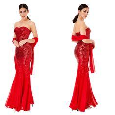Sexy vestito lungo in paillettes a sirena rosso  Taglia 12 inglese che veste una L  https://www.lorcastyle.it
