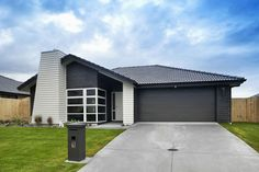 Black brick with white joinery, front door and weatherboard. as to wether we do a white garage door. Basement House Plans, Ranch House Plans, Craftsman House Plans, Weatherboard Exterior, Exterior Cladding, Building Exterior, Building A New Home, Exterior House Colors, Exterior Design