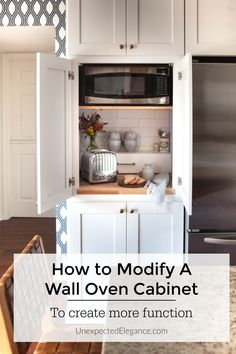 Take your unused wall oven and make it more functional! See how to modify a single wall oven cabinet to house your small appliances and give you some extra countertop space. Kitchen Wall Cabinets, Kitchen Cabinet Colors, Kitchen Layout, Kitchen Design, Pantry Design, Oven Cabinet, Appliance Cabinet, Appliance Garage, Kitchen Oven