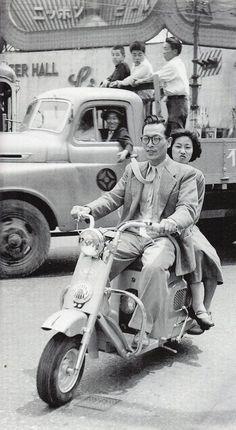 """ Couple in scooter - Japan - 1953 Source Twitter @showaspotmegri """