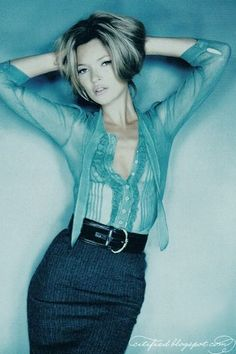 Kate Moss | Vogue | 2005 | pencil skirt | posing | fashion | editorial | sexy | house wife | sheer | chiffon