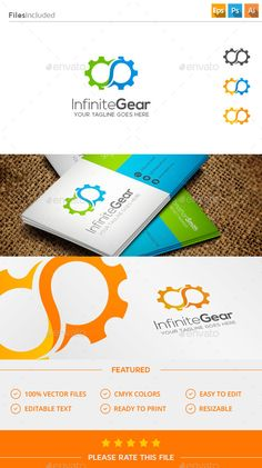 Gear Logo by Exe-Design . Logo Design Trends, Business Logo Design, Logo Design Contest, Pr Logo, Logo Branding, Logo Design Template, Logo Templates, Infinite Logo, Machine Logo