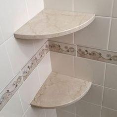 About GoShelf™ – Stone Corner Shower Shelf That's Easy to Install! Tile Shower Shelf, Bathroom Corner Shelf, Shower Storage, Small Bathroom Storage, Corner Shelves, Diy Shower, Shower Tub, Modern Bathroom Decor, Bathroom Interior Design