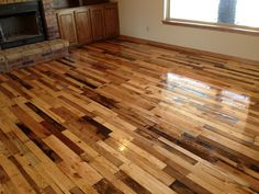 Completed Pallet Wood Floor @ abuildingweshallgo.blogspot.com Rustic Home Décor - Ranch Style Home - Country Home - Reclaimed Wood - DIY Flooring - Recycle - Repurpose