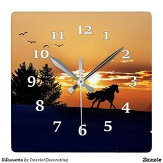 Silhouette Square Wall Clock
