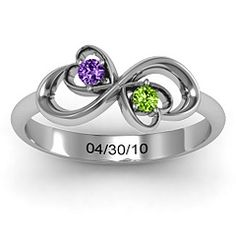 Promise Ring with peridot and blue topaz