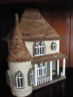 "alt="" Victorian Beige Cottage House with Turret miniature Sculpture Architectural Model Decor"" 