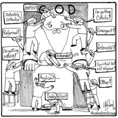 Different Blind perspectives (religion) of a God Religious Humor, Religious Art, Satirical Illustrations, Christian Humor, You Funny, Funny Things, A Cartoon, Thought Provoking, Christianity