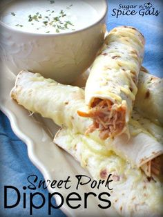 "Sweet Pork Dippers 4 lb. pork tenderloin roast 1 c salsa 1 1/2 c brown sugar 1 c coca cola (sweet) salt and pepper 7"" flour tortillas (2- 22.5oz pkgs. abt. 40  tortillas) 2  c. Monterey Jack Cheese Ranch Dressing for dipping"