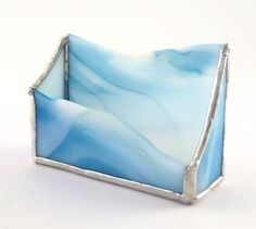 Blue and White Stained Glass Business Card by Nostalgianmore, $35.00