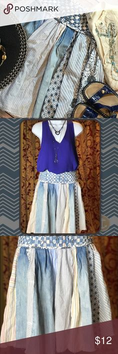 Scarf Skirt Adorable patchwork scarf skirt, in various patterns & shades of blue.  💯% cotton.  Woven waistline.  Lightweight, casual & comfy for spring.    Very good used condition...except just noted a missing eye for the hook above the zipper. Skirts