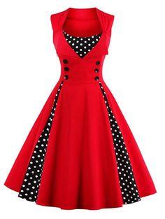 Midi Polka Dot Prom Rockabilly Swing Vintage Prom Dresses - RED M